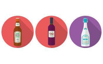 icono de botellas vino, cerveza, agua
